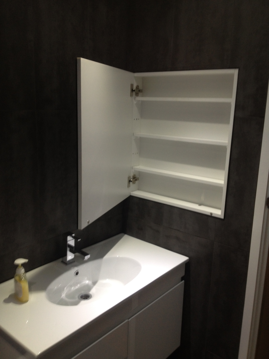 Bathroom Renovation, Upgrade, Vanity, Medicine Cabinet, Mirror